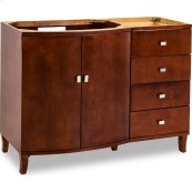 "47"" vanity with rich mahogany finish and polished nickel hardware."