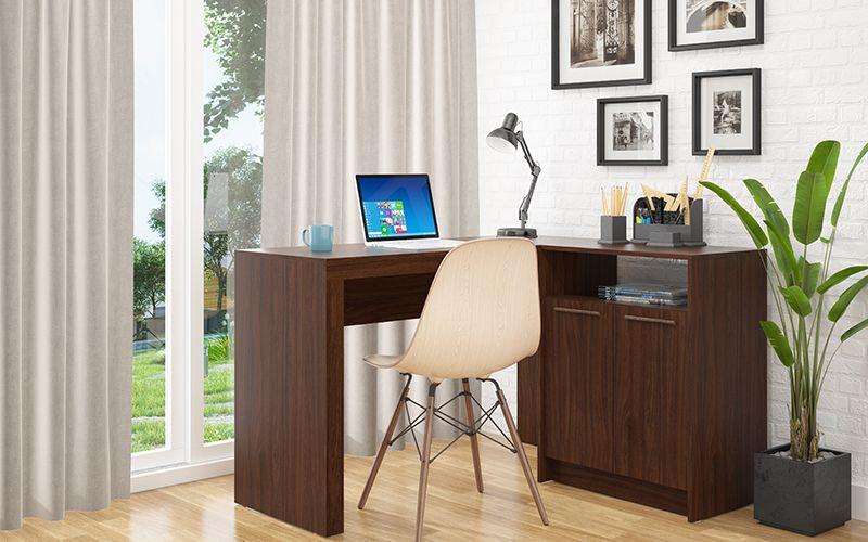 Kalmar L -Shaped Office Desk with Inclusive in Dark Brown