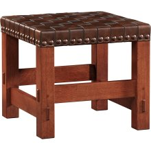 Cherry Woven Leather Stool