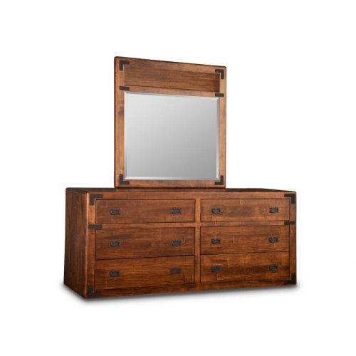 Saratoga Landscape Mirror with Leather Panel