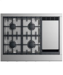 """Gas Cooktop 36"""", 4 burners with griddle (LPG)"""