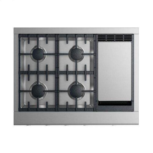 """Gas Rangetop 36"""", 4 burners with griddle (LPG)"""