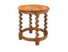 Round Lamp Table w/ Barley Twist Legs