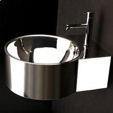 """Wall-mount or above-counter lavatory with one faucet hole and an overflow. 16 gauge stainless steel. Unfinished back. 15 3/4""""W x 19 3/4""""D x 7 1/4""""H"""