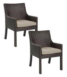 Emerald Home Metro II Arm Dining Chair Sunbrella Spectrum Sand Od1026-21-09