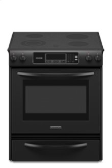 Slide-In Electric Range Thermal Oven Beveled Glass Cooktop Contoured Front Control knobs Four Elements One Double-Ring Element Architect® Series II