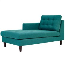 Empress Left-Arm Upholstered Fabric Chaise in Teal