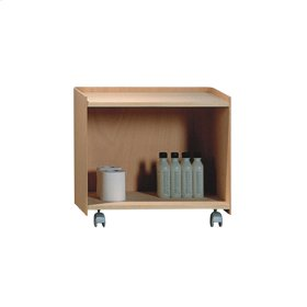 Aeri wood cart with two shelves and casters. Cart is finished on all four sides.