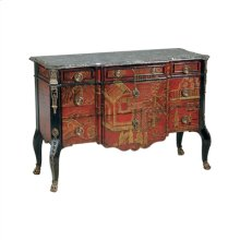 Hand Painted Red Ground Chinoiserie Chest of Drawers, Dark Snakeskin Stone Top