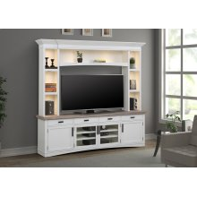 Americana Modern Cotton 92 in. TV Console with Hutch with LED Lights