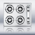 "24"" wide gas cooktop in brushed chrome, with four burners and gas spark ignition Product Image"