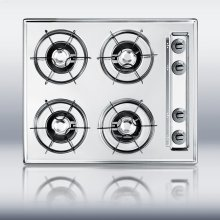 "24"" wide gas cooktop in brushed chrome, with four burners and gas spark ignition"