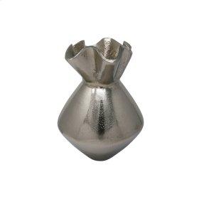 """Ruffled Top 10.5"""" Aluminum Vase, Silver"""