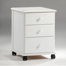 3 Drawer Rolling Unit with Wooden Knobs