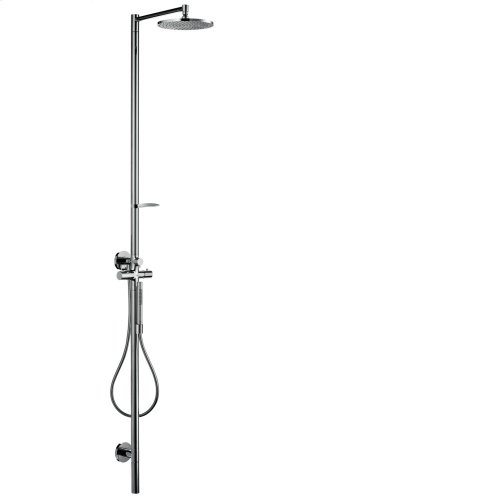 Chrome Shower column with thermostat and plate overhead shower 240 1jet