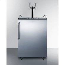 Freestanding Commercially Listed Dual Tap Beer Dispenser, Auto Defrost With Digital Thermostat, Stainless Steel Door, Towel Bar Handle, and Black Cabinet