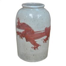Red Dragon Crackled Vase