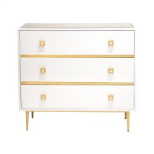 White Lacquer 3 Drawer Chest With Gold Leaf Hardware & Base