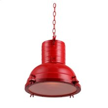 "Industrial Collection Chandelier D:15.75"" H:16"" Lt:1 Red Finish"