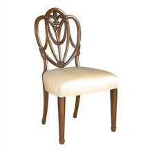 CARVED POLISHED MAHOGANY HEART SHAPED SHIELD BACK SIDE CHAIR , OYSTER SILK UPHOLSTERY