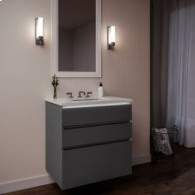 """Curated Cartesian 24"""" X 7-1/2"""" X 21"""" and 24"""" X 15"""" X 21"""" Three Drawer Vanity In Matte Gray Glass With Tip Out Drawer, Slow-close Plumbing Drawer, Full Drawer, Night Light and Engineered Stone 25"""" Vanity Top In Quartz White (silestone White Storm)"""