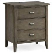 Night Stand w/Top Drawer, Door and 2-plug Electrical Outlet #10522-GR Product Image