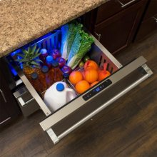 """24"""" Refrigerated Drawers - Solid Stainless Steel Drawer Fronts, With Lock"""
