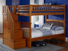 Columbia Staircase Bunk Bed Full over Full in Caramel Latte
