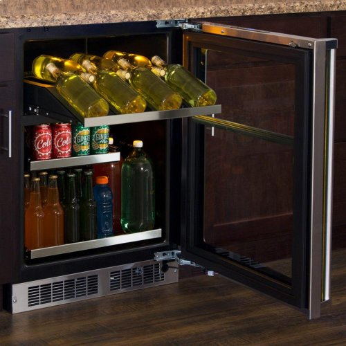 """24"""" Wine and Beverage Center - Stainless Frame, Glass Door With Lock - Integrated Left Hinge, Professional Handle"""