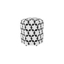 Seat Belt Poof Ottoman, Black/White