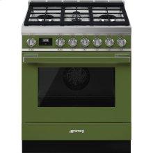 "Portofino Pro-Style Dual Fuel Range, Olive Green, 30"" x 25"""