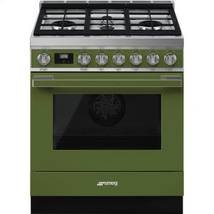 "SmegPortofino Pro-Style Dual Fuel Range, Olive Green, 30"" x 25"""