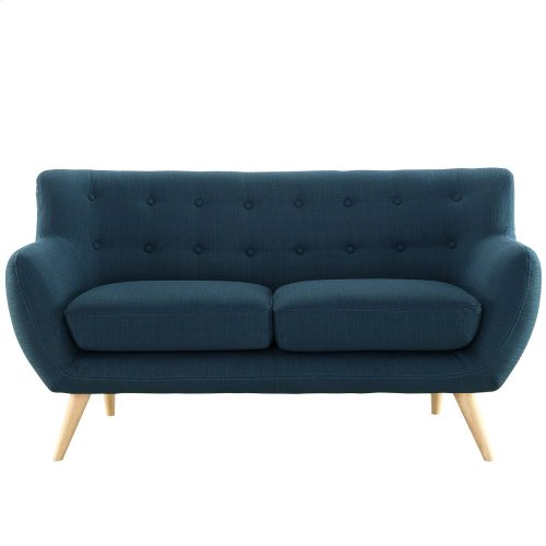 Remark Upholstered Fabric Loveseat in Azure