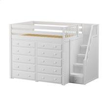 High Loft w/ Staircase & 2 x 5 Drawer Dressers : Full : White : Panel
