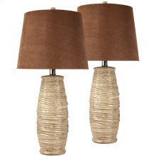 Exceptional Designs by Flash Haldis Beige Ceramic Table Lamp, Set of 2