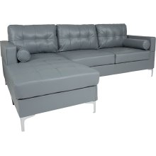 Riverside Upholstered Tufted Back Sectional with Left Side Facing Chaise and Bolster Pillows in Gray Leather