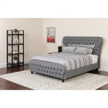 Cartelana Tufted Upholstered Queen Size Platform Bed with in Light Gray Fabric and Silver Accent Nail Trim with Pocket Spring Mattress