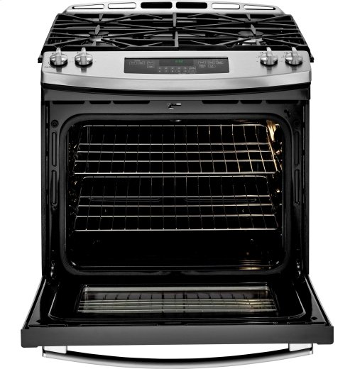 "GE® 30"" Slide-In Front Control Gas Range **FLOOR SAMPLE**"