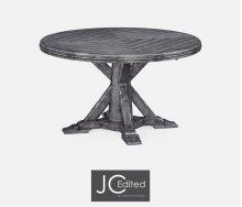 "53"" Antique Dark Grey Parquet Round-To-Oval Dining Table"