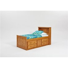 Heartland Twin Bookcase Captain's Bed with Storage with options: Honey Pine, Twin