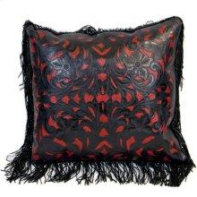 Large hand tooled leather perforated cushion with fringe