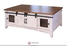 Storage Coffee Table with 2 Sliding Doors & 2 Mesh Doors