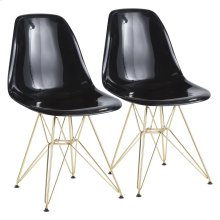 Brady Chair - Set Of 2 - Gold Metal, Black Abs