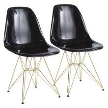 Brady Chair - Set Of 2 - Gold Metal, Black Abs