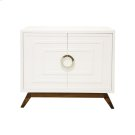 White Lacquer 2 Door Cabinet With Stained Hardwood Base and Nickel Hardware Product Image