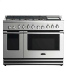 """48"""" Gas Range: 6 Burners With Griddle"""