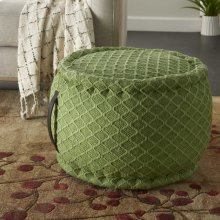 """Outdoor Pillows As696 Green 20"""" X 20"""" X 12"""" Pouf"""