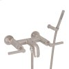 Satin Nickel Lombardia Wall Mount Exposed Tub Set With Handshower With Metal Lever