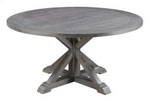"""Complete Round 60"""" Dining Table-top & Base Rustic Charcoal"""