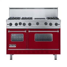 "Apple Red 48"" Open Burner Range - VGIC (48"" wide, six burners 12"" wide char-grill)"